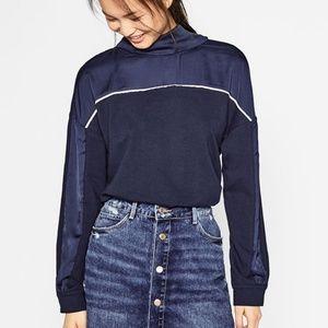Zara Trafaluc Navy Blue Tie Back Blouse Medium